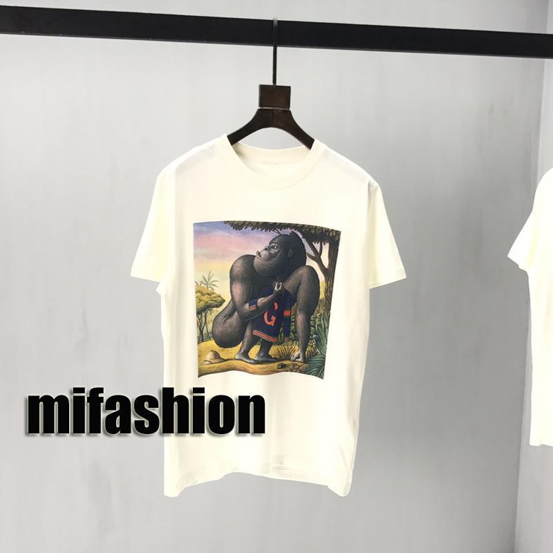 20SS Luxury New Fashion Designer Europe Italy Museum Tiger Gorillas Rabbit Oil Painting Tshirt Men Women T Shirt Casual Cotton Tee Top