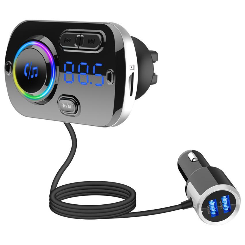 Inal/ámbrico Bluetooth coche MP3/reproductor transmisor de Radio FM Kit de coche Unidad US manos libres ranura para tarjeta TF//SD Transmisor de radio FM 3,5/mm Puerto de audio universal cargador de coche con doble USB puertos de carga