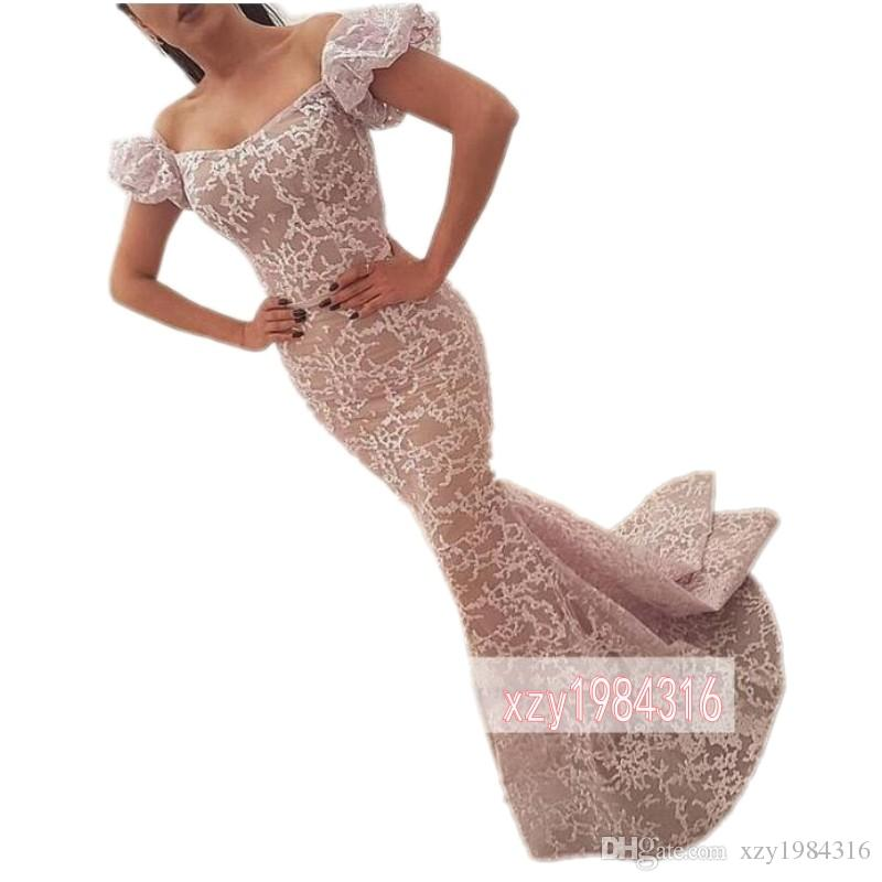 Off Shoulder Scoop Evening Dresses Poet Short Sleeves Lace Appliques Mermaid Prom Dresses Sweep Train Elegant Cocktail Party Gowns