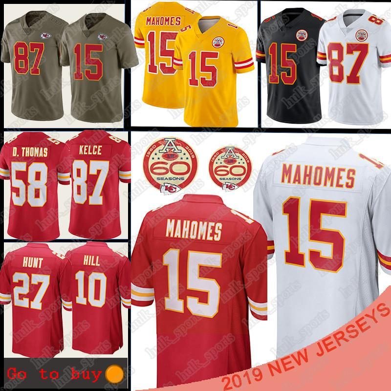 Kansas 15 Patrick Mahomes Cidade Jersey 10 Tyreek Hill 87 Travis Kelce 27 Kareem Hunt homens Football Jerseys T-shirt