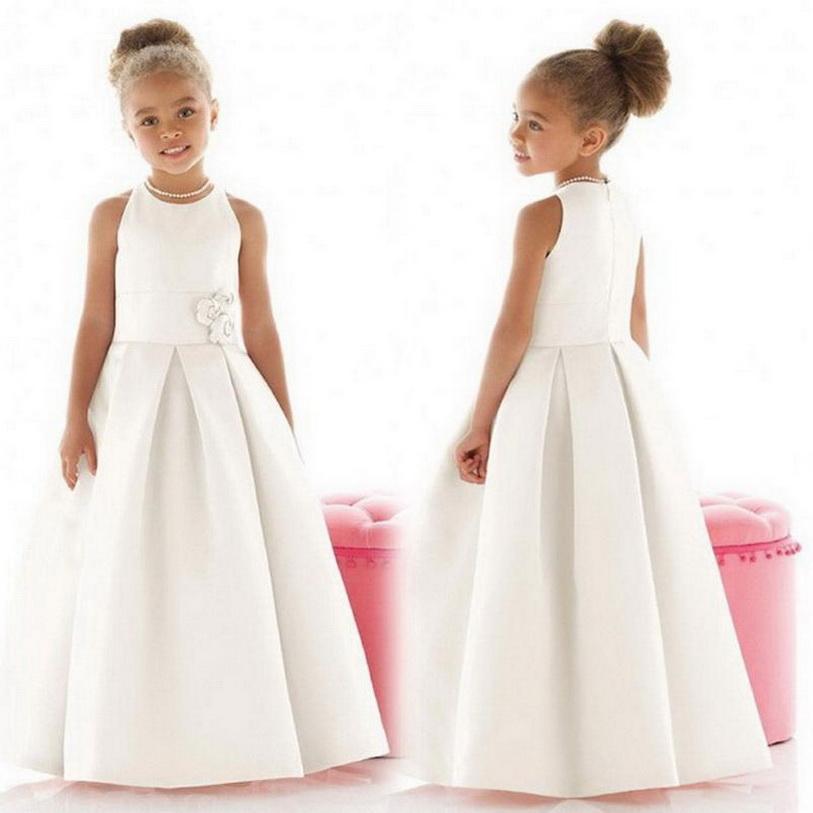 2020 Yeni Geliş komünyon Elbise Custom Made A-line Çiçek Kız Elbise Kat uzunlukta Kolsuz Saten 2-14 Yaş Ücretsiz Kargo