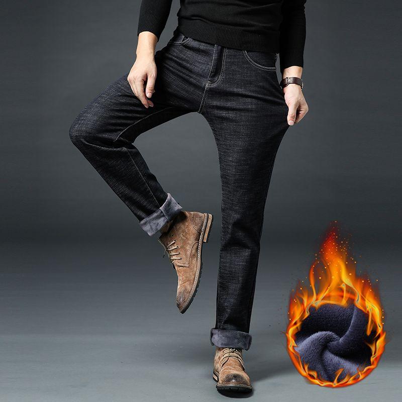 Invierno Warm Fleece Jeans para hombres Stretch Denim grueso Jean Recto masculino Marca de moda Pantalones de algodón para hombres Talla grande 35 40 42 44 46