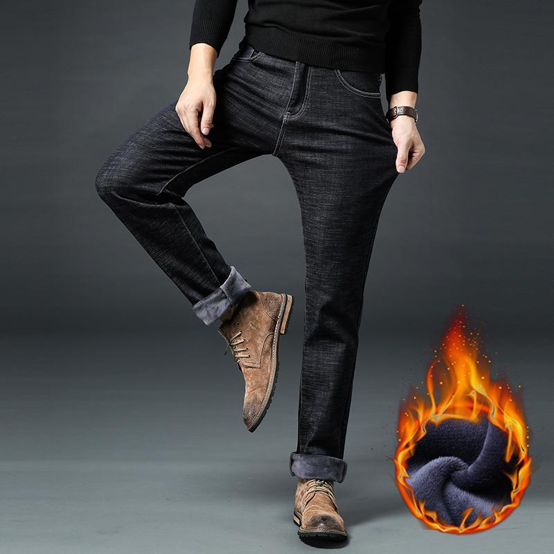 Jeans da uomo in pile caldo invernale Denim elasticizzato Jeans spessi Jean Dritti di moda maschile Pantaloni in cotone da uomo Taglie forti 35 40 42 44 46