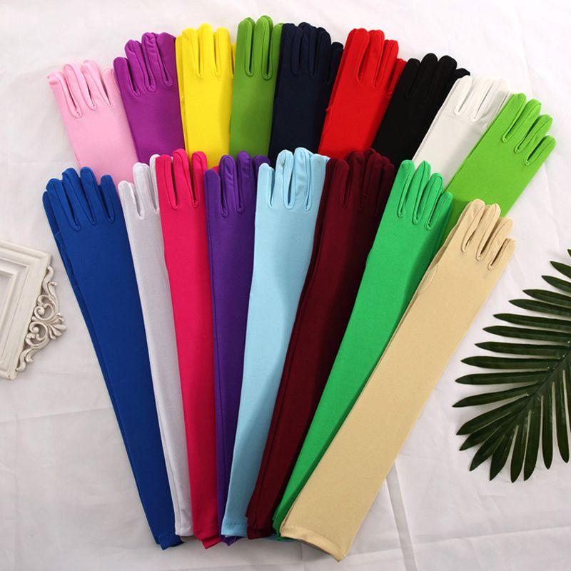 Moda guanti di raso lungo elegante dito gomito di protezione Guanti Guanti per la donna vestito solido Partito Femminile Guanti Guanti