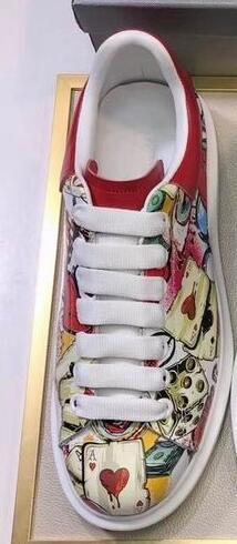 2019 mujeres de los hombres de corte bajo de calidad superior de cuero blanco rojo pobres escritura a mano zapatos al aire libre zapatos de moda Tamaño de las zapatillas de deporte 35-44