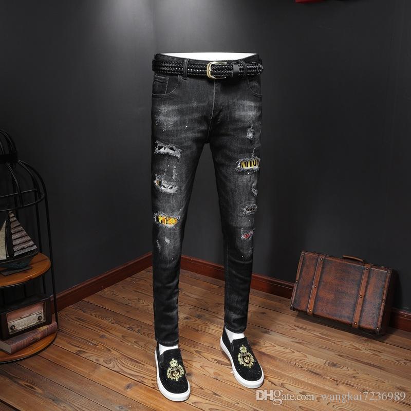 2019 jeans concepteur hommes Distressed Ripped Skinny Pantalons vêtements de luxe Slim Moto Moto Biker Hip Hop déchiré jeans hommes maigre A16