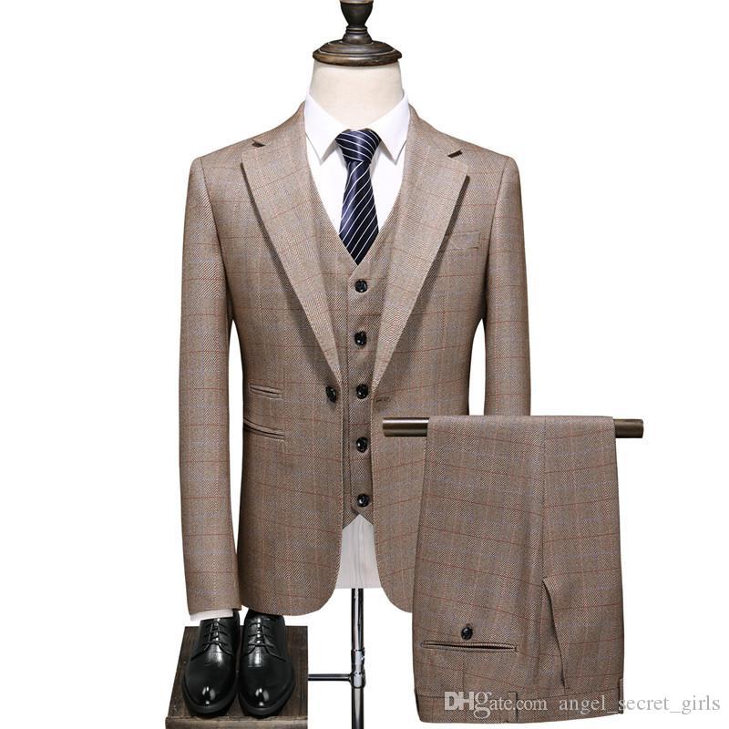 dos homens terno único botão Magro cavalheiro terno de três peças terno dos homens (calças jaqueta colete) ternos masculinos casuais de escritório de negócios