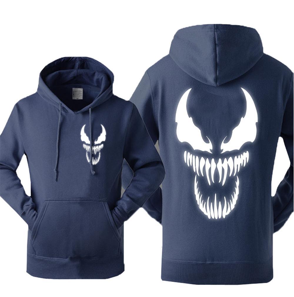 Spiderman Venom Winter Hoodie Mens Movie Fleece Thick Jacket Warm Sweatshirts