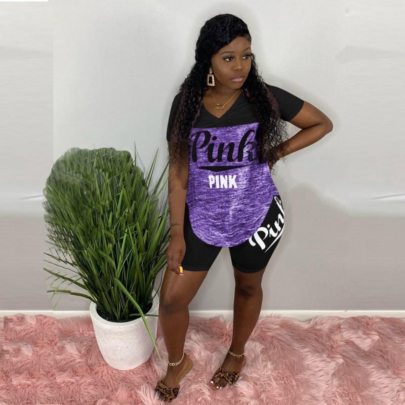 Frauen zwei Satz Trainingsanzug Sommerstück Sportswear T-Shirt + kurze Hosen kurze Hülse tops + Shorts Sommerfrauen Kleidung klw3768 SportSuit