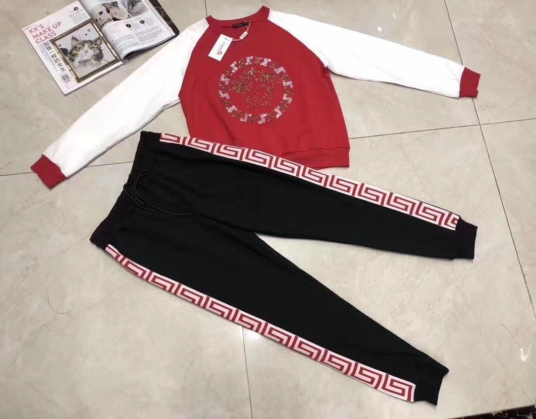 2020 Moda iyi kumaş yeni rahat pantolon takım elbise bayan eşofman 031402 kazak işlemeli