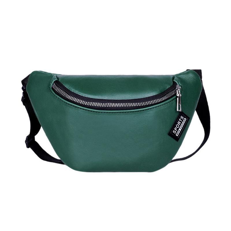 senhoras da forma sólida de couro Peito Bolsa de Ombro Crossbody Bag Sports cintura Cadeia Mensageiro Mobile Phone 2020 Novo