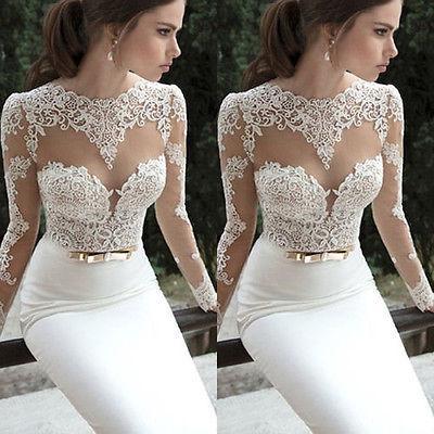 여성의 레이스 긴 저녁 볼 정장 파티 드레스 여성 화이트 레이스 Bodycon 긴 소매 롱 드레스 vestido