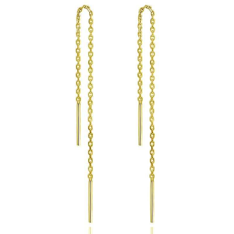 S925 plata flujo largo del oído Su geometría simple línea de joyería pendientes de la manera Fabricantes joyería al por mayor