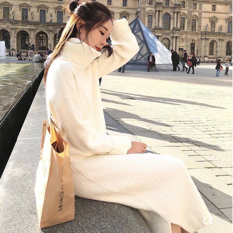 Kore Triko Elbise Kadınlar Örme Kazak Elbiseler Kadınlar Aşırı diz Triko Elbise Plus Size Bölünmüş Turtleneck Kazak Elbise OL