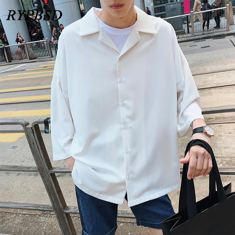 2019 Spring New Harajuku Solid Color Korean Men Shirt Three Quarter Turn Down Collar Casual Streetwear Oversized Dress Shirt MenMX190829
