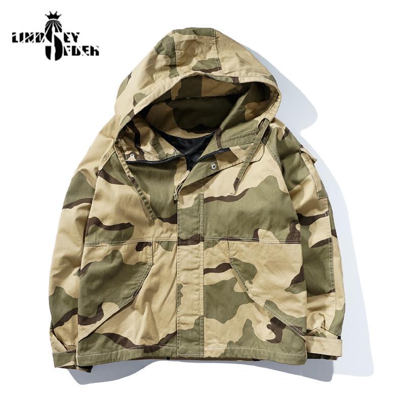 Men's Jackets Jacket Hoody Zipper Camouflage Windbreaker Mens Solid Color American Soldier Classic Streetwear Hooded Coat Fashion Outwear