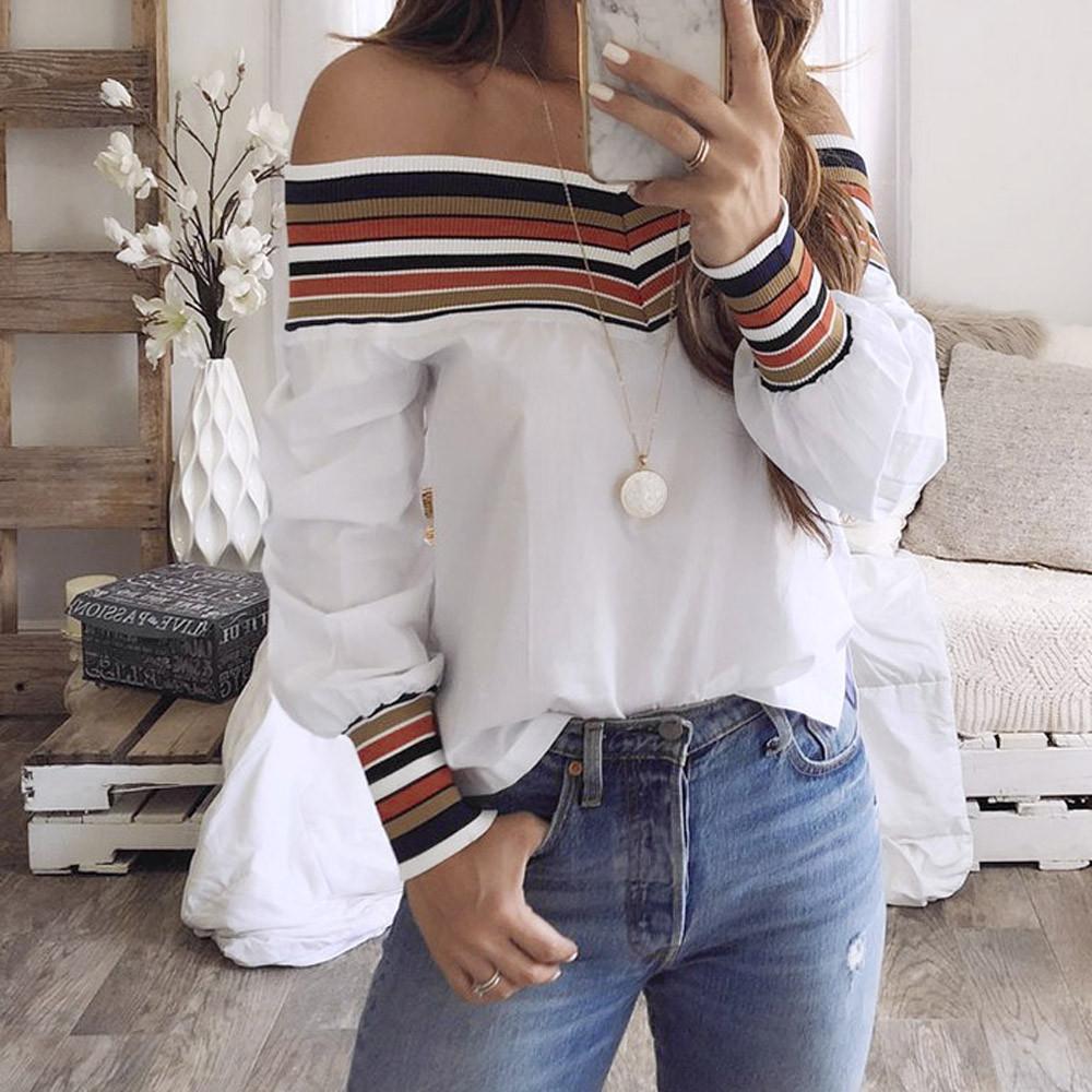 Septhydrogen Marka Tasarımcı Kadınlar Seksi Sonbahar Kapalı Omuz Bluz Çok renkli Uzun Kollu Bluz Casual blusas Mujer De Moda