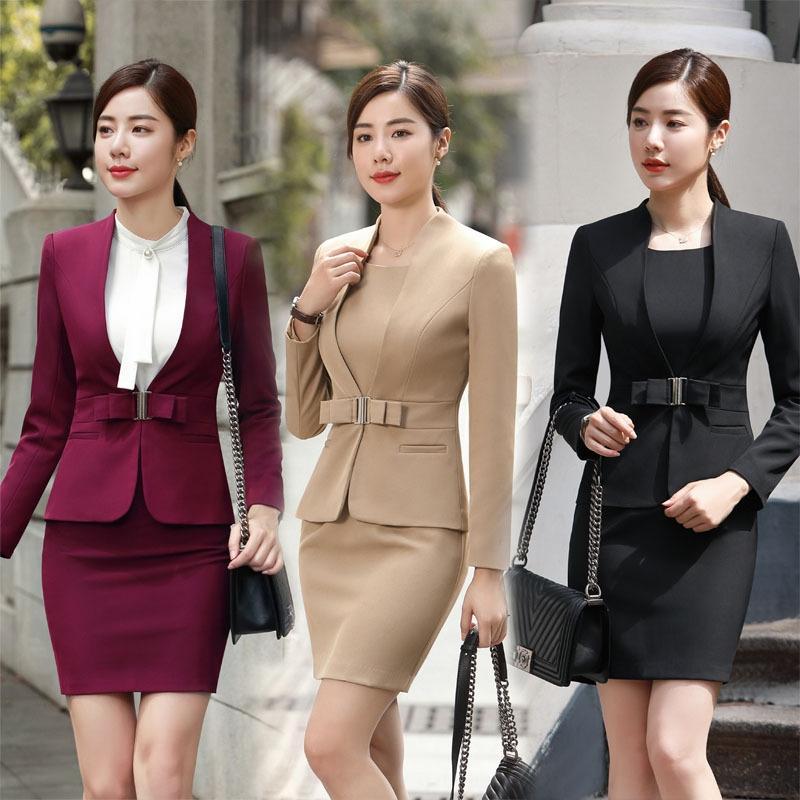 Outono e Inverno 2019 profissional terno de Moda de Nova profissional terno vestido vestido de duas peças para as mulheres 1871