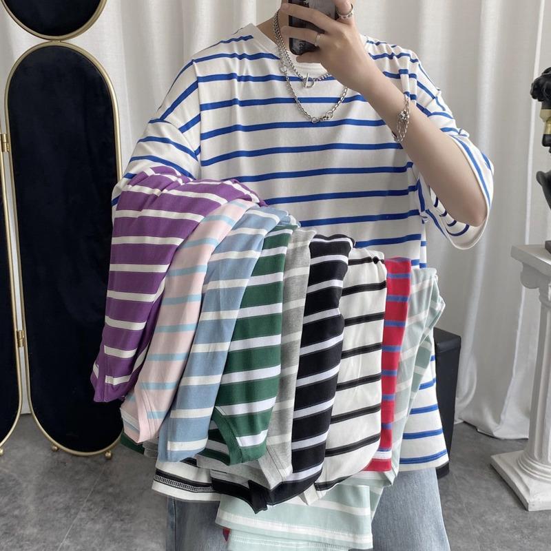 Summer Striped T Shirt Men's Fashion Contrast Color Casual Loose Cotton T-shirt Men Streetwear Short-sleeved Tshirt Mens S-2XL