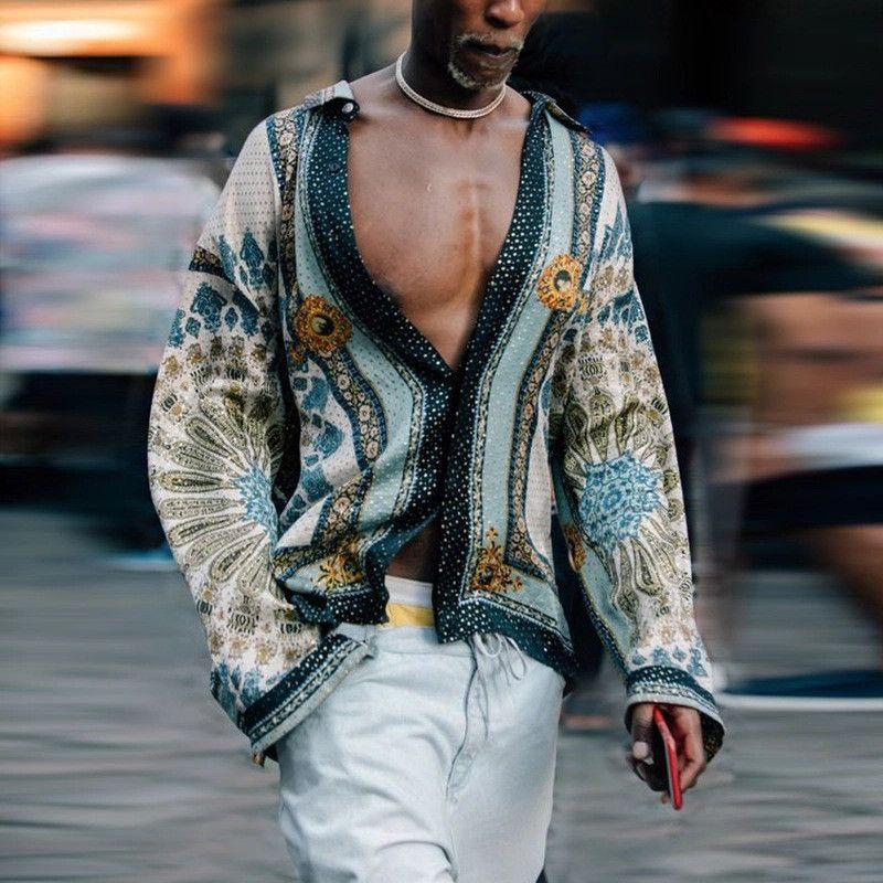 2020 İlkbahar Dijital Baskılı Gömlek Moda Erkek Bohemian Gömlek Homme Tasarımcı V Yaka Casual Erkek Yaka Boyun Gömlek Tops