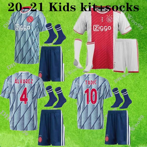 20 21 Ajax Kids kit away soccer jersey PROMES Ajax MEN amsterdam VAN DE BEEK 2021 home TADIC ZIYECH FOOTBALL SHIRT SETS uniform+socks