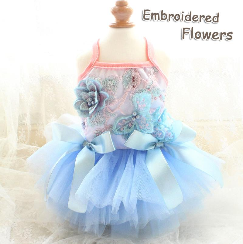 Free shipping handmade High-end dog clothes blue sea embroidery flowers voluminous tulle gown princess dog dress cat costume