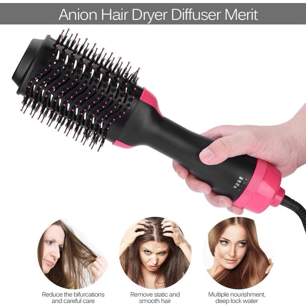 1000W Professional Hair Dryer Brush 2 In 1 Hair Straightener Curler Comb Electric Blow Dryer With Comb Hair Brush Roller Styler Dropshipping
