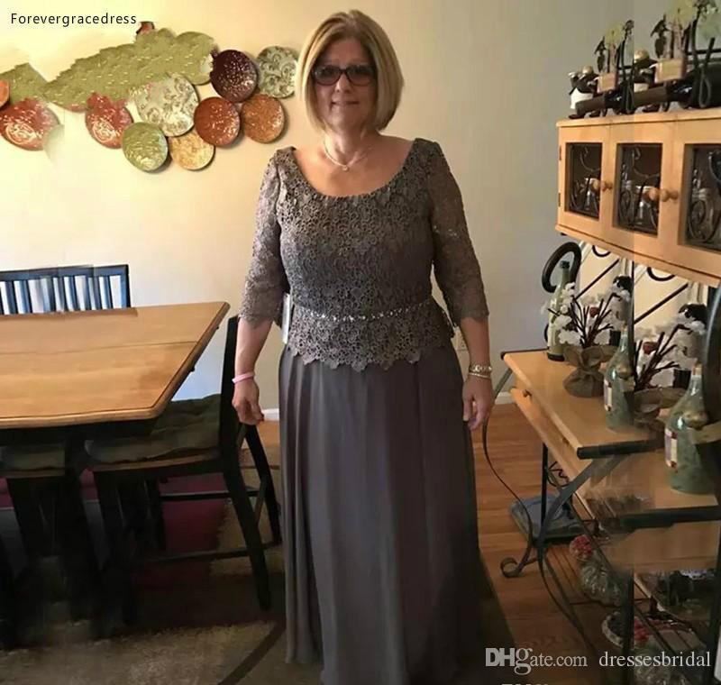 La dentelle élégante mère de la mariée robes 2019 une ligne manches longues soirée formelle robes de soirée de mariage, plus la taille faite sur mesure