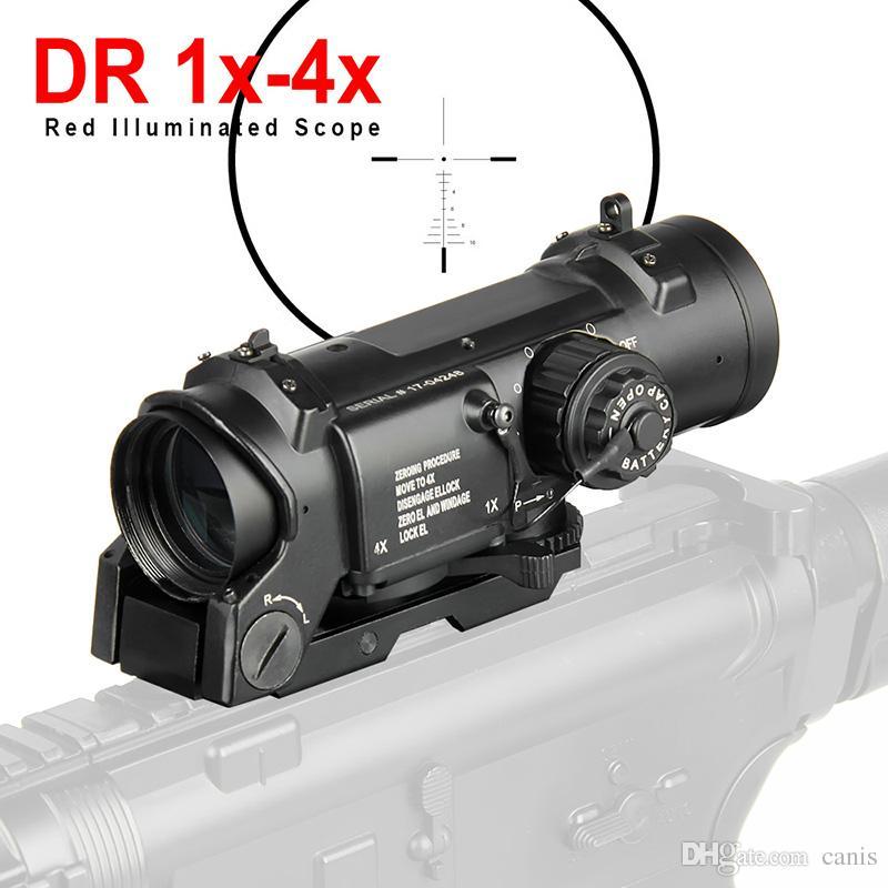 PPT Hunting Rifle Scope Quick Staccabile 1x-4x Regolabile Dual Ruolo Sight Ruolo Rosso e Green Optic Hunting Scope CL1-0058Pro