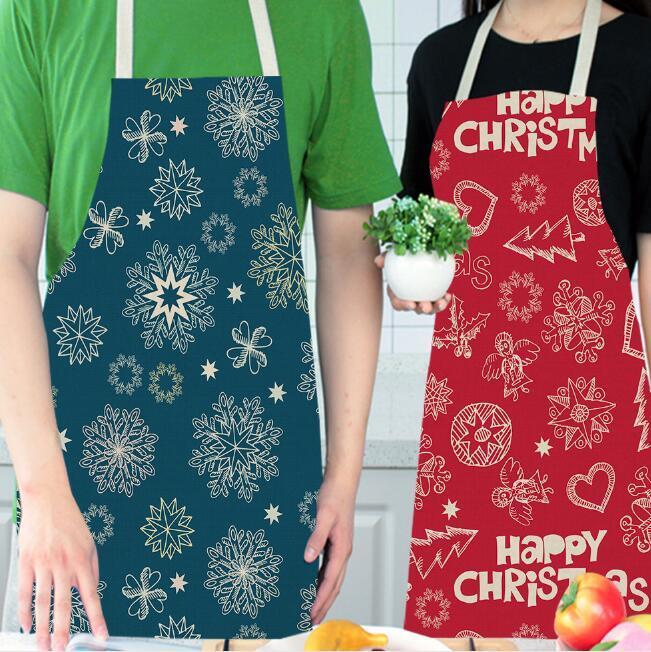 Noël créatif thème cuisine tabliers réglable cuisine unisexe imprimé flocons de neige tabliers de Noël salle à manger restaurant accessoires