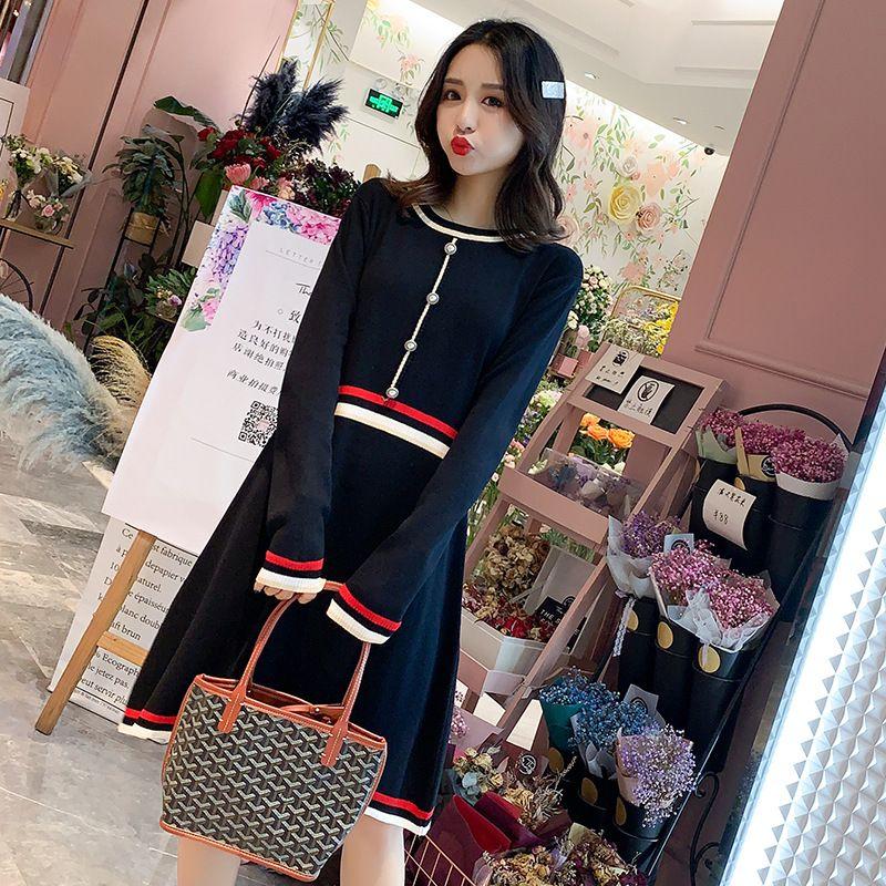 2019 Yeni Stil Moda Orta Uzun Ceket Örme Hamile Giyim Orta uzunlukta Gevşek-Fit Etek Sonbahar Giyim Elbise