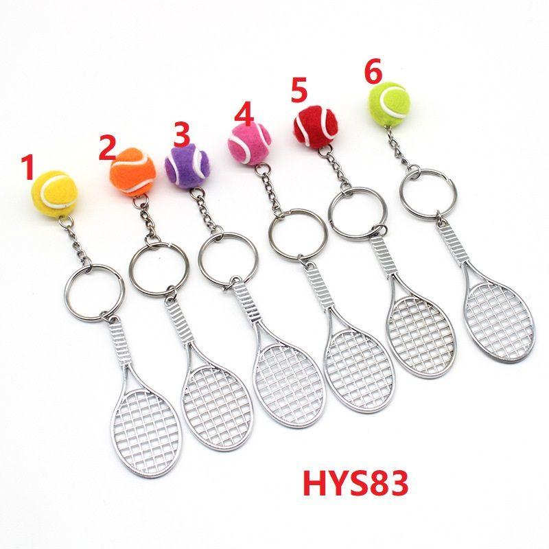 10Pcs Creative Mini Key Chains Tennis Racket Ball Keychain Keyring Accessories