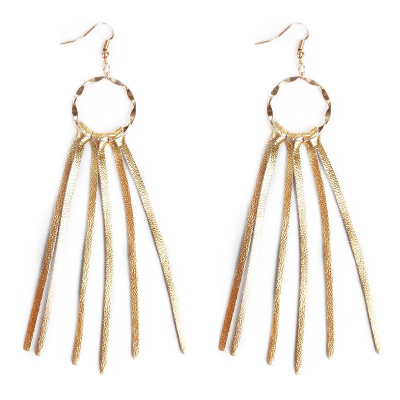 Cpop New 3 Colors Trendy Genuine Sheep Leather Tassel Earrings Gold Silver Leather Pendant Gold Circle Earrings Supply Manufacturers