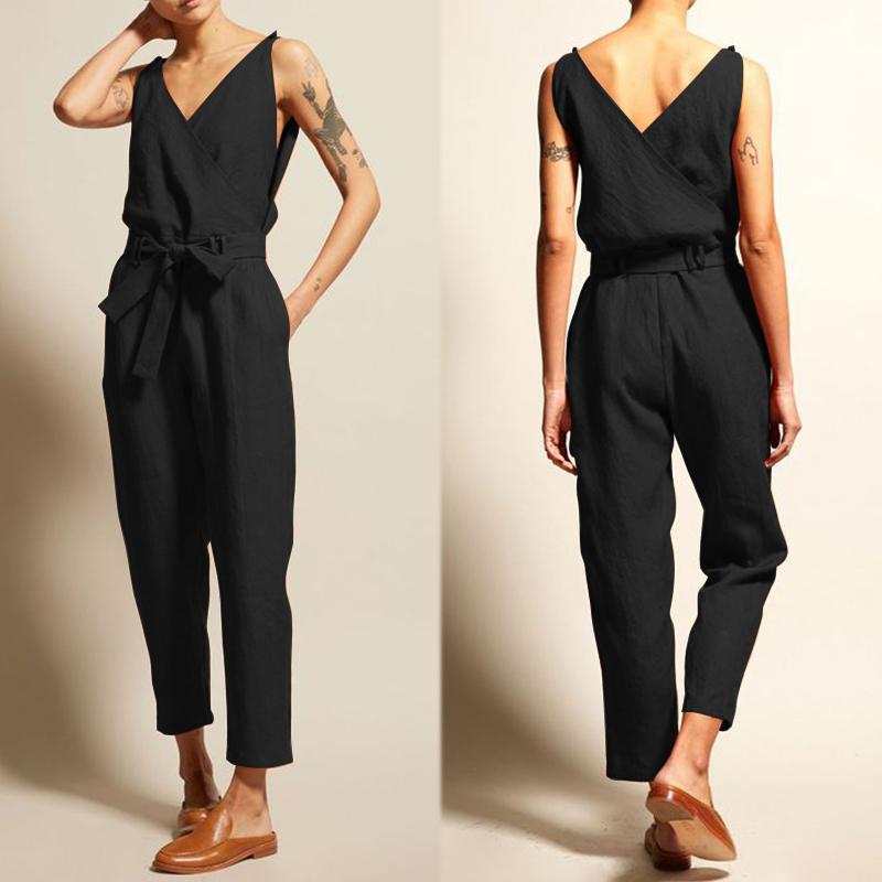Zanzea Jumpsuits Women Vintage Linen Pantalon V Neck Sleeveless Playsuits Female Casual Backless Overalls Belt Summer Trousers Y19060501