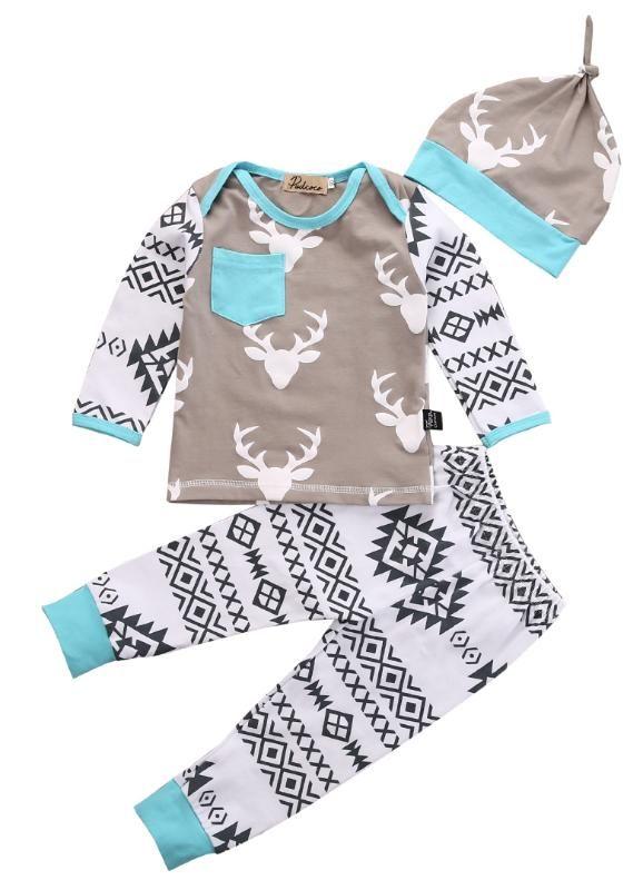 Recién nacido de los bebés Boy ciervos Tops camiseta pantalones bordados de 3 PC de Navidad ropa determinada bebés Niño de Navidad Trajes Set
