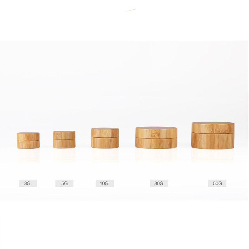 5g 10g 30g 50g Maquillaje líquido vacío Crema para los ojos Máscara de esencia Contenedores de bambú Base de muestra Base de frascos de emulsión para viajes