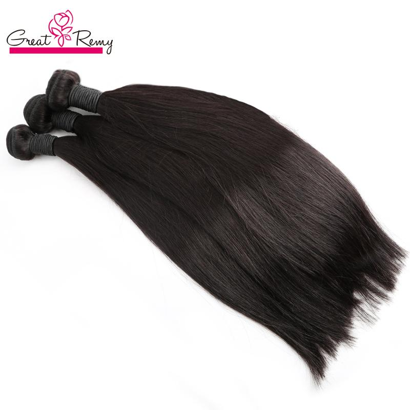 """Greatremy Malaysian Hair Weft 100% Unprocessed Human Virgin Hair Extensions Silky Straight Natural Color Brazilian Hair Bundles 8""""-34"""""""