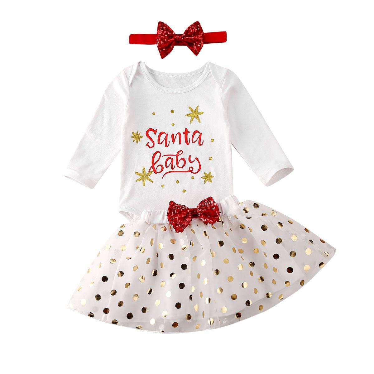 3шт Рождество новорожденный девочка одежда с длинным рукавом Санта ребенок печати белый комбинезон топ кружева пачка лук юбка горошек наряд