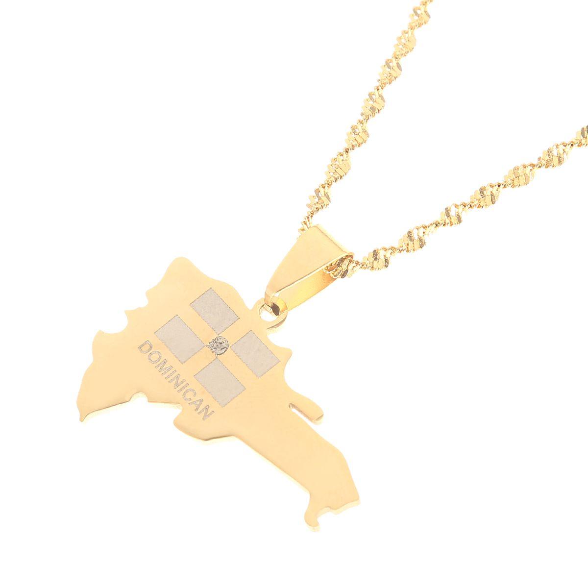 Die Dominikanische Republik Karte Anhänger Halskette für Frauen Gold Farbe Schmuck
