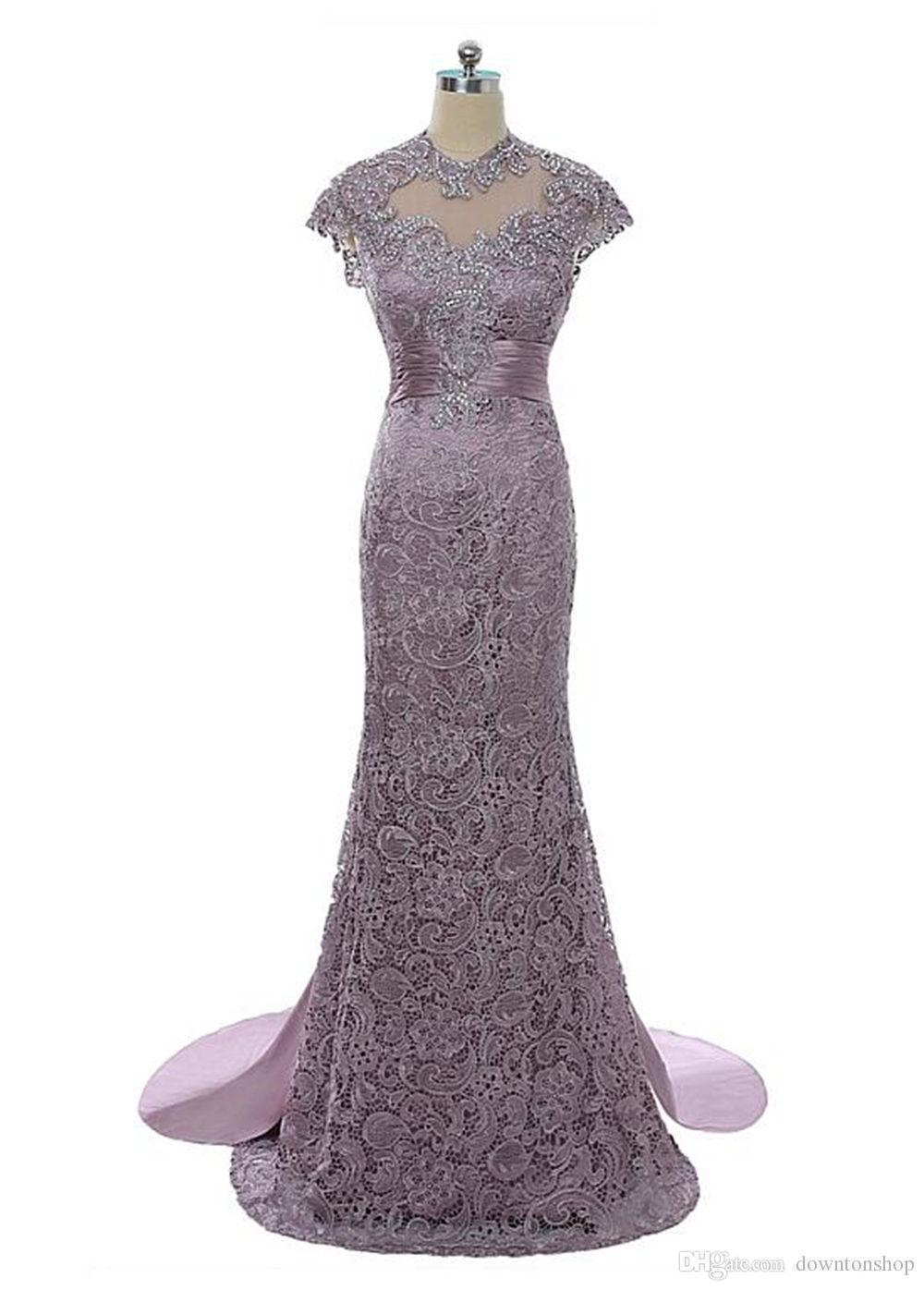 Free shipping Elegant high neck Panel train Mother of the Bride Plus Size Cap sleeves Lace Gowns for Wedding Guest Evening Prom Dresses