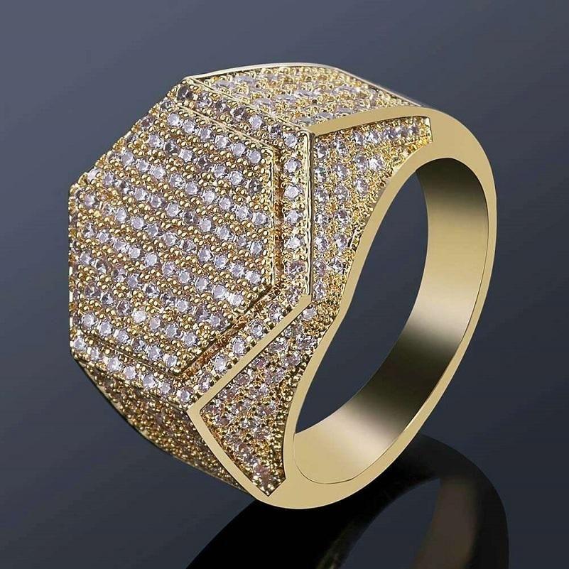 elmas altıgen çetesini 18k altın kaplama düğün nişan altın gümüş Yüzük takı bling erkekler hip hop lüks tasarımcı mens için dışarı buzlu halkalar