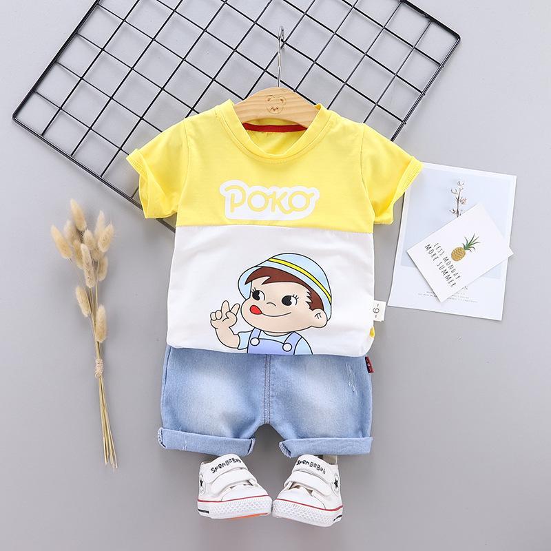 Été bébé garçon Vêtements pour enfants Cartoon Costume Set Survêtement Costume Vêtements pour enfants T-shirt Jeans d'Tenues 1 2 3 4 5