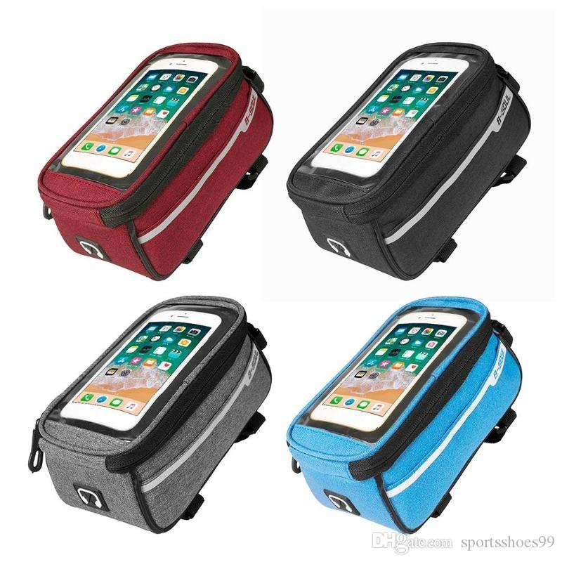 B-SOUL Waterproof MTB Road Bike Front Tube Bag 6inch Phone Touch Screen Saddle Mobile Phone With Headphone hole Bike Accessories #79450
