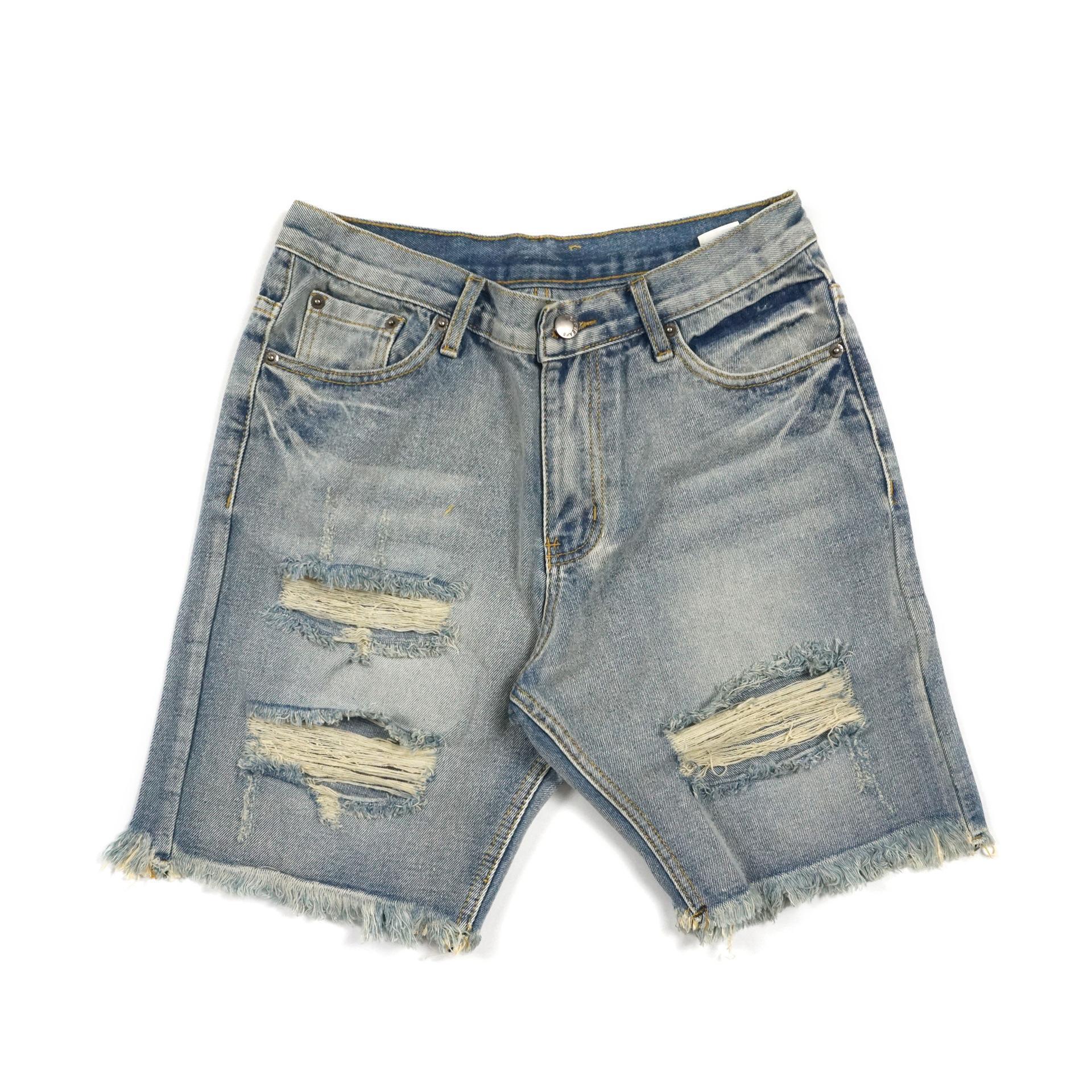 Luxury Beach Брюки мужские New Fashion Designer Шорты Повседневная Solid Color Board Shorts Оригинал High Street Нищий Hole Wash Denim шорты