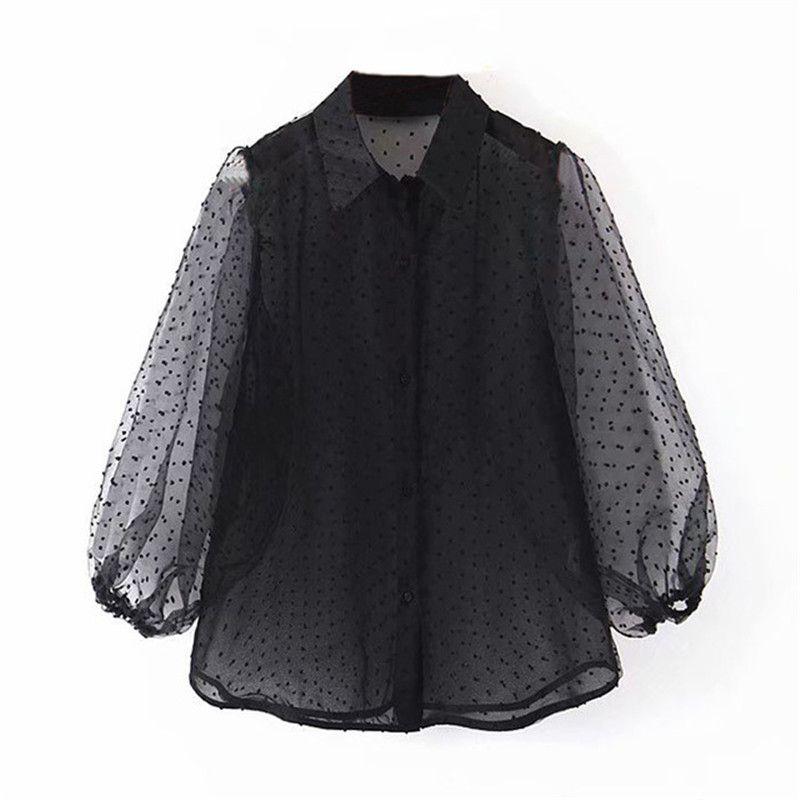 Dot bordado atractivo de las mujeres de la blusa de organza ver a través Chic Top ocasional da vuelta abajo a la camisa de soplo de la manga floja delgada suave Blusas