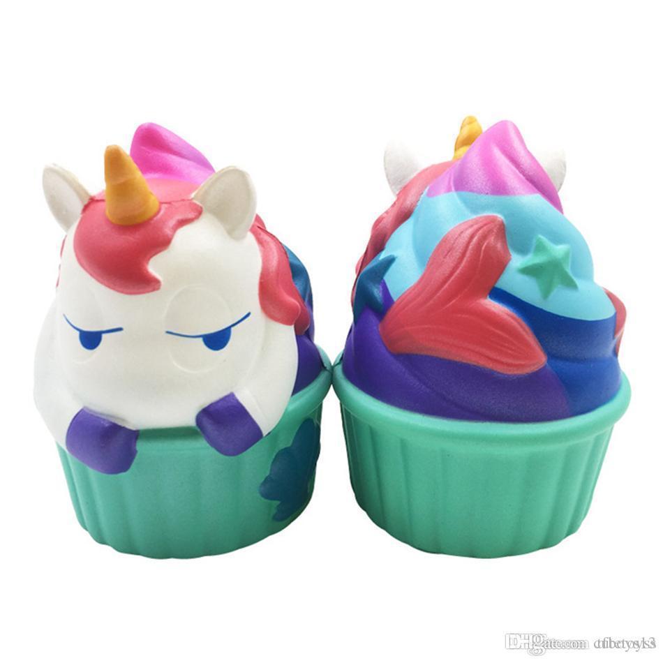 Best gift Kawaii Unicorn Squishy Cupcake Hippo Slow Rising Cute Animal Jumbo Soft Squzze Decompression Toys Phone Charms Gift