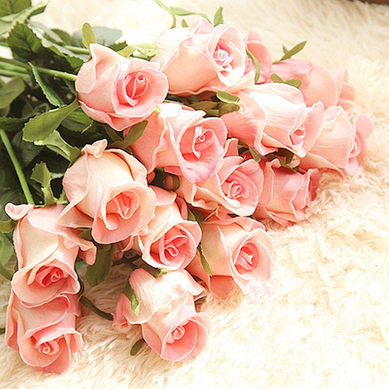 Floace 15pcs / lot Decorazione domestica di cerimonia nuziale Fiori Fiori di qualità artificiale di tocco reale Rose