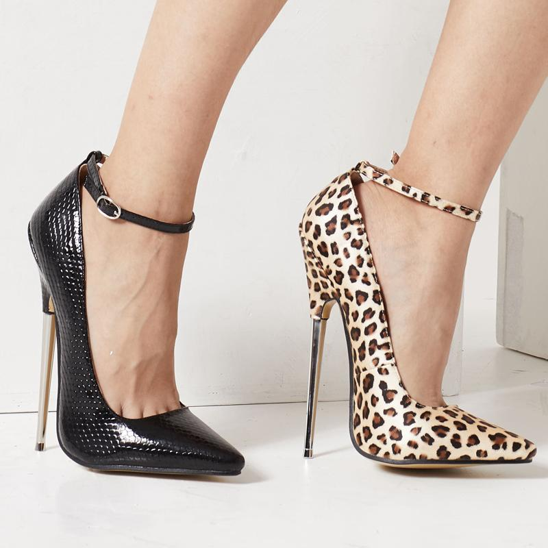 Adam Fetiş Yüksek Topuklar Kadınlar BDSM Cosplay Ayakkabı 18cm 7inç Stiletto topuk Sivri Burun Ayak bileği Wrap Spike Metal Kölelik BÜYÜK BEDEN Leopard pompaları