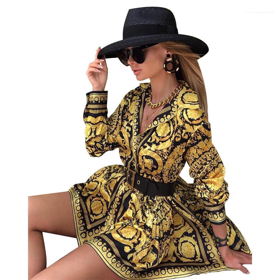 Suelta Printe Camisa manga Partido Famale calle Ropa de las mujeres elegantes Diseñador cuello en V blusas del verano del vestido de la vendimia