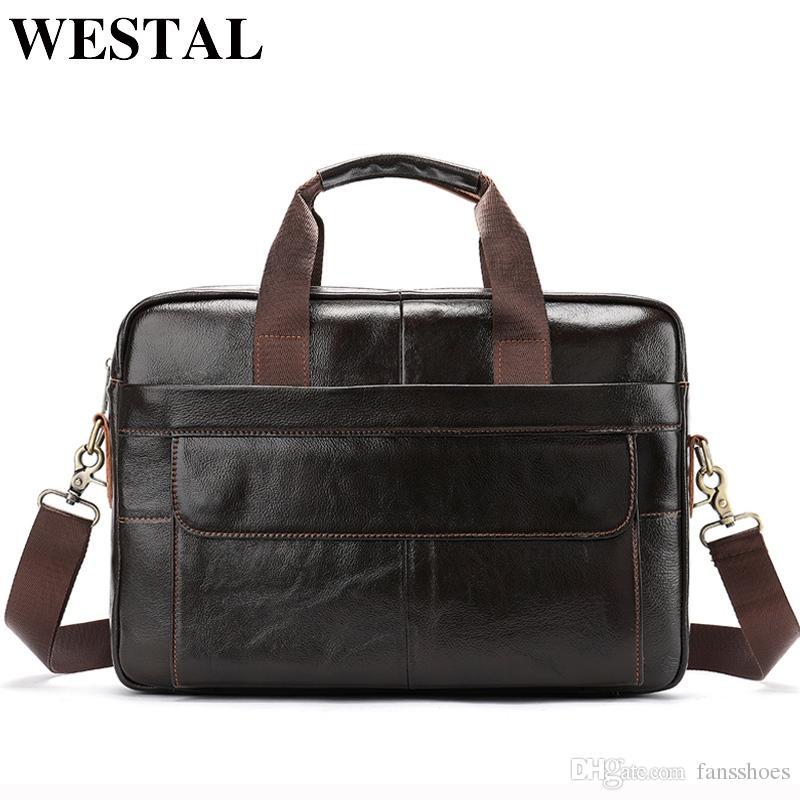 WESTAL 14 zoll Laptoptasche für Männer Messenger Bags Echtes Leder Männer Aktentaschen für Dokumente Arbeit Taschen Männliche Aktentaschen # 614904